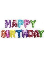 """مجموعة بالونات على شكل احرف بعبارة """"Happy Birthday"""" لزينة حفلات اعياد الميلاد، مصنوعة باغشية من الالومنيوم (متعددة الالوان)، بقياس 16 انش - عدد 13"""