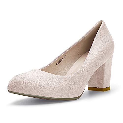 - IDIFU Women's RO3 Sherry Classic Closed Round Toe Medium Chunky Block Heels Wedding Dress Office Pumps Shoes (9 M US, Nude Suede)