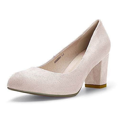 IDIFU Women's RO3 Sherry Classic Closed Round Toe Medium Chunky Block Heels Wedding Dress Office Pumps Shoes (9 M US, Nude - Cut Woman Color Round