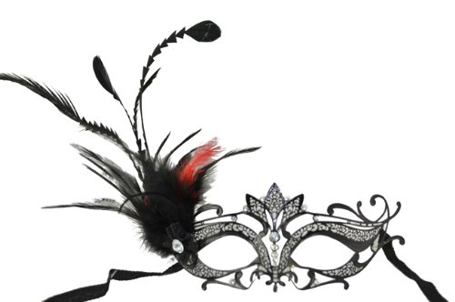 Venetian Side Feather Mask (Royal Classic Venetian Design Swan Style Laser Cut Masquerade Mask - Elegantly Detailed and Decorated with Side Black and Red Feathers)