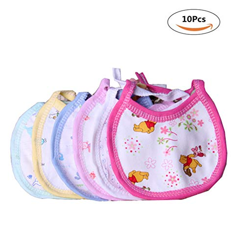 10Pcs Cotton Baby Feeding Bib Lovely Cute Cartoon Pattern Infant Aprons Saliva Towel Burp Cloths-Random Color
