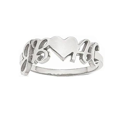 Roy Rose Jewelry 14K White Gold Heart Couple's Initial Personalized Custom Love Romance Ring - Size 9 by Roy Rose Jewelry