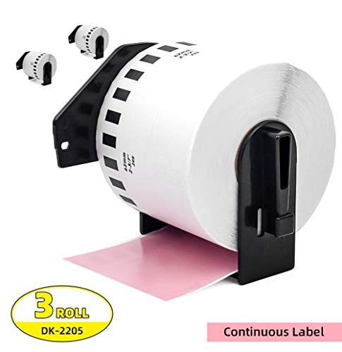 Label Orison -Compatible DK-2205 Continuous Pink Paper 2.4 inch x 100 feet with Non-refillable Cartridge Replace for Brother QL-570 QL-720NW Printer,3 Rolls
