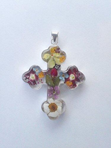 Silver Dry pressed Flowers big cross pendant ()