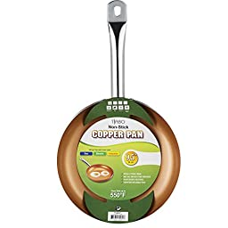 Non-stick Copper Frying Pan CeramiTech with Ceramic Coating with Induction cooking,Oven & Dishwasher safe 9.5 Inches By Tiabo