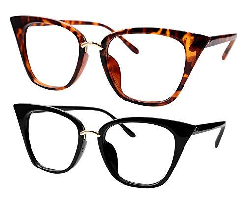 SOOLALA Womens Quality Readers Stylish Oversized Cat Eye Custom Reading Glasses, 2Mix, 2.5x (Designer Glasses Frames Uk)