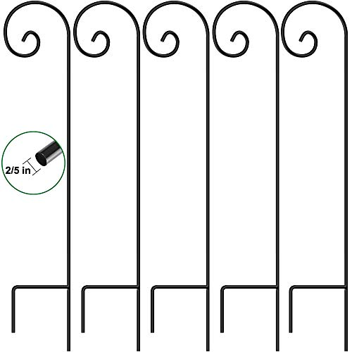 5 Pack Garden Shepherd Hook 48 in Bird Feeder Pole Hanging Plants Basket Hanger Stand 2/5 in Outdoor Pathway Solar Light Lantern Wind Chimes Wedding Decor Heavy Duty Rust Resistant Black ()