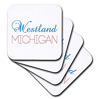 3dRose Alexis Design - American Cities Kentucky-Nebraska - Westland, Michigan blue, red text. Patriotic home town design - Coasters