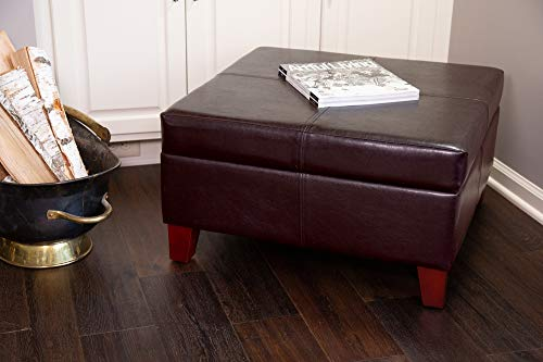 HomePop Faux Leather Square Storage Ottoman Coffee Table with Wood Legs, Brown