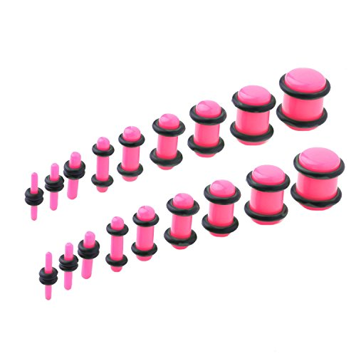 s Stretching Kit 14G-00G Pink Ear Gauges Set Acrylic Double O-Ring Expanders (Pink Acrylic Ear Plugs)