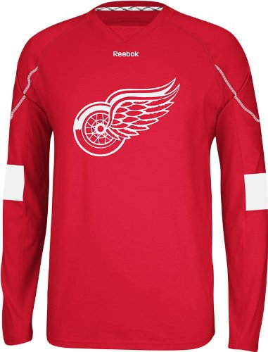 NHL Detroit Red Wings Men's Edge Long Sleeve Jersey Tee, Red, XX-Large - Edge Long Sleeve Tee