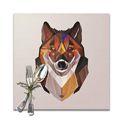 Ganwinsh Placemats Autumnal Wolf 12 X 12in Table Mats Set of 6 Kitchen Placemat for Dining Table Washable Anti-Skid High Temperature Resistant White ()