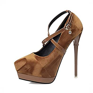 Ying-xinguang Shoes Fashion Sexy Cross Straps Stiletto Suede Shoes Women's High Heel Platform High Heels Comfortable (Color : Brown, Size : 36)