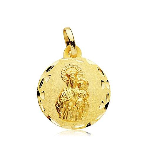 Médaille pendentif 18mm en or 18 carats Virgen Carmen tallada. [AB2459GR] - personnalisable - ENREGISTREMENT inclus dans le prix