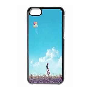 XiFu*Meiiphone 4/4s Case,Girl Field Flying Balloons Hard Shell Back Case for Black iphone 4/4s Okaycosama377784XiFu*Mei