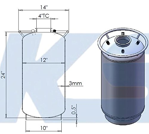HFS (R) 304 Stainless Steel Base Container 12'' diameter by 12'' tall