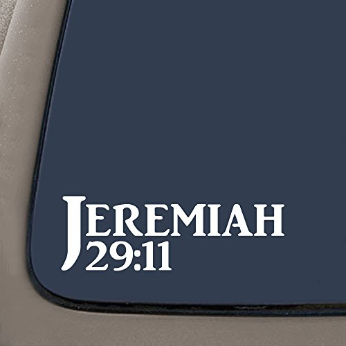 DD717 Jeremiah 29:11 Bible Verse Decal Sticker | 7.5-Inches By 2.5-Inches | Religious Motivational Inspirational Educational | Car Laptop Van SUV Macbook Truck Wall | Premium Quality White Vinyl