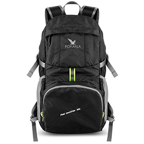 Pokarla Foldable Durable Travel Hiking Backpack 35L Ultra Lightweight Packable Carry On Daypack Unisex Outdoor Sports Black For Sale