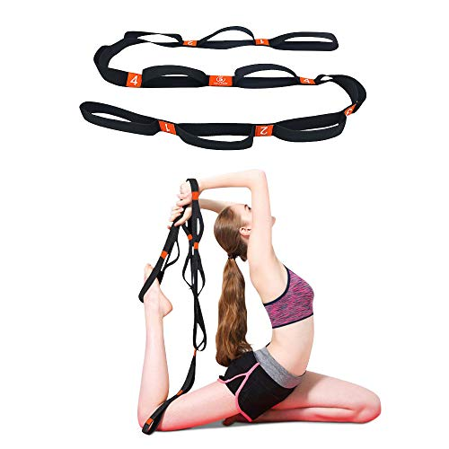 5BILLION Cotton Yoga Stretching Exercise Strap Band with Multiple Grip Loops for Hot Yoga, Physical Therapy, Greater Flexibility & Fitness Workout, 1.6″ W x 6.7′ L