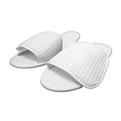 Waffle Nylon Fabric Closure Open Toe Unisex Slippers Wholesale 100 Pcs (One Size 11.5'', White) by TowelRobes