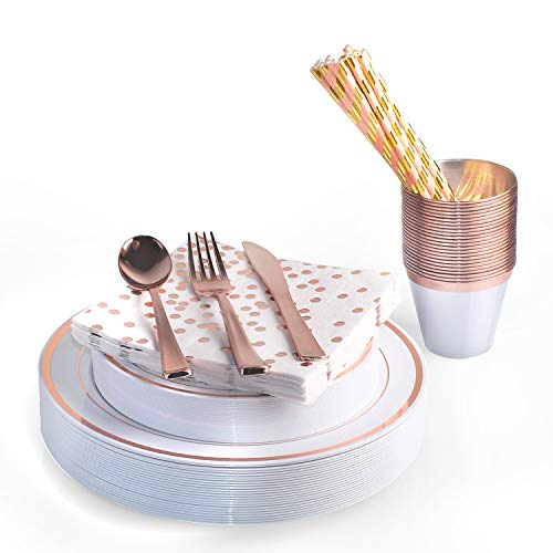 200 Piece Rose Gold Disposable Cutlery Set | Plastic Rose Gold Silverware | Heavyweight Quality Flatware | Includes 25 Forks, Spoons, Knives, 9 Oz Cups, Plates, Napkins + Straws ()