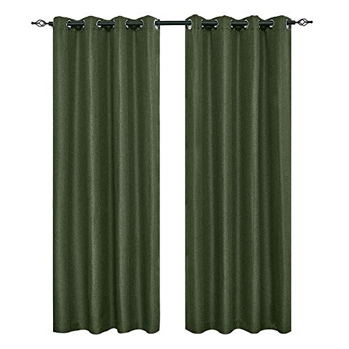 "DyFun 2 Panels Curtains Linen Thermal Insulated Window Treatment Grommet Top Blackout Window Curtains/Drapes (52""×84"", Dark Green)"
