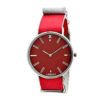 Uhr Zzero Urban zu008 a Quarz (Batterie) Stahl Quandrante bordeaux Armband Leder