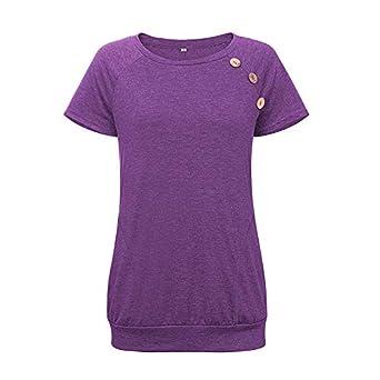 Camiseta de Manga Corta de Color Liso para Mujer.Botón ...