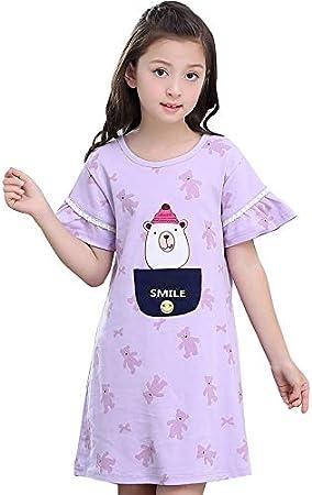 Camisones Ropa De Dormir para Niñas 100% Algodón Albornoz para Niños Verano para Niños Servicio En Casa Puede Usar Afuera (Color : Purple, Size : 155cm): Amazon.es: Hogar