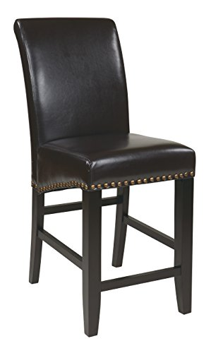 Metro Counter Stools (Office Star Metro Bonded Leather Parson's Counter-Height Bar Stool with Nailhead Accents, 24-inch, Espresso)