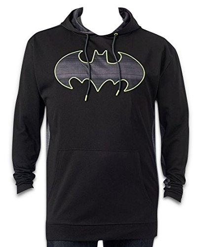 Lined Sweatshirt Dc (DC-Comics Batman Batman Mens Pullover Fleece-Lined Hoodie Sweatshirt (Medium) Black/Lime/Gray Hoody)