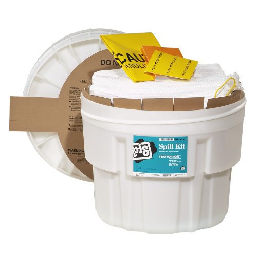 (New Pig KIT411-01 31 Piece Oil-Only Spill Kit in 20-Gallon Overpack Salvage Drum, 12.5 Gallon Absorbency)
