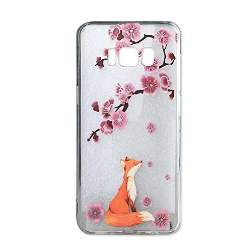 Galaxy S8 Case, Ftonglogy Crystal Clear Case Design Pink Cherry Blossoms Pattern Print Bumper Protective Shock Absorption Case Samsung Galaxy S8 Silicone Floral Cover Girls ()