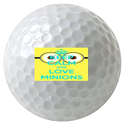 Funny Keep Calm And Love Minions Quote Pattern Design Print Image 3-Pack Printed Golf Balls