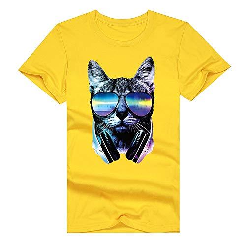 Mens Cotton Short Sleeve T-Shirts - Neon DJ cat Headphones & Sunglasses Graphic Novelty Funny T Shirt Yellow ()