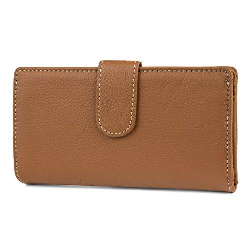 Mundi Suburban Rio 100% Leather Womens Checkbook Wallet With RFID Blocking Technology and Kiss Lock Frame (Cognac)