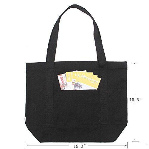 Shoulder Beach Grocery Heavy Canvas Tote Black Pocket With Zipper Cotton 100 Duty pack 2 L Bag Outer Augbunny nq84R01Y0