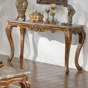 Wood Console Table with Marble Top - Hand Carved Console Table with Curved Legs - ()