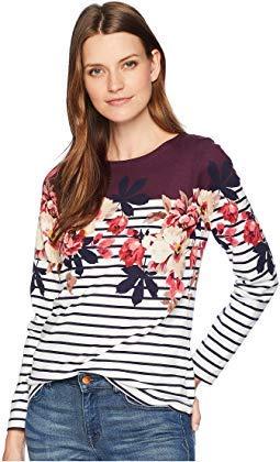 Joules Women's Harbour Printed Jersey Top Burgundy Bircham Bloom Stripe 16