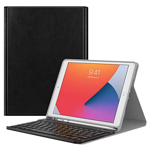 """MoKo Keyboard Case for New iPad 10.2 2020/2019 (10.2 inch) with Apple Pencil Holder, Wireless Keyboard Cover Case for Apple New iPad 8th Generation 2020 & iPad 7th Generation 10.2"""" 2019 - Black"""