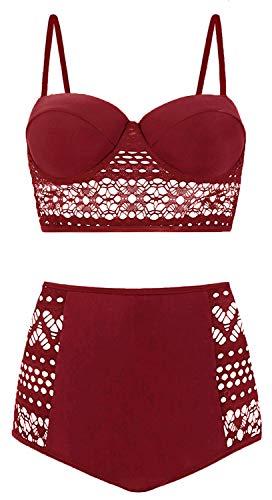Suits Lace Bathing - Amourri Womens Vintage Polka Underwire High Waisted Swimsuit Bathing Suits Bikini (Z2- Lace Burgundy, XXXXX-Large (fits Like US 16-18))