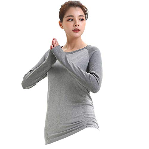 LWJ 1982 Long Sleeve Workout Athletic Hiking Moisture Wicking Shirts Yoga Clothes Running Tops for Women Activewear (Small, Grey) - Layer Tech Compression Shirt