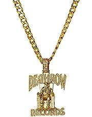 Collar colgante con forma de prisionero Hip Hop plateado Micro-incrustaciones de circón Acero de titanio Death Row Jewelry Hombres y mujeres Mascarada con regalos