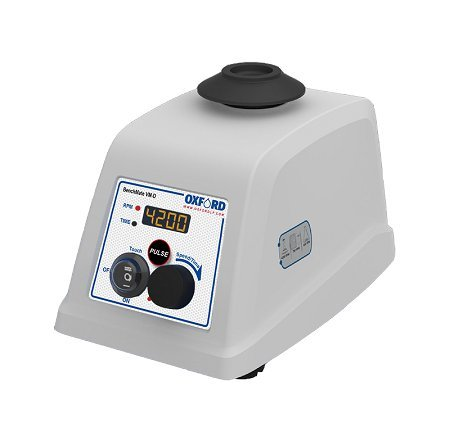Oxford Benchmate VM-D Digital Vortex Mixer, from 300 to 4200 RPM, with Pulse Mode, 4 mm Orbital Diameter, DC Motor, Silent Operation and Build in Counter Balance, White by Oxford Benchmate