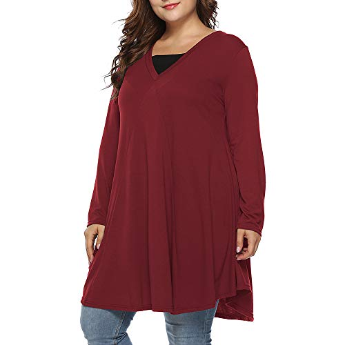 Women Plus Size Tunic Shirt,Sunyastor Spring V Neck Print Graceful Lace Pullover Top Button Long Sleeve Casual Shirt Blouse