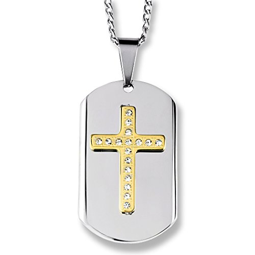 West Coast Jewelry | Crucible Gold Plated Two-Tone Stainless Steel Crystal Layer Cross Dog Tag Pendant - Gold Plated Two Tone Cross