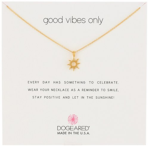"Dogeared Reminders- ""Good Vibes Only""  Gold Dipped  Sun Charm Necklace, 16"" w/2"" Extender"