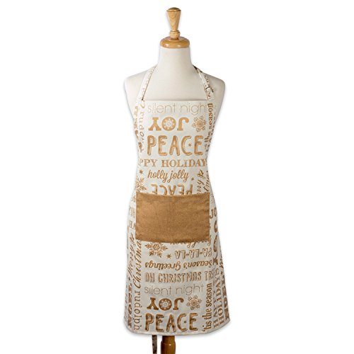 DII Cotton Adjustable Christmas Holiday Kitchen Apron with Pocket and Extra Long Ties, 32 x 28