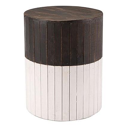 ZUO Furnitures Wooden Round Brown White Decorative Garden Stool Modern  Garden Outdoor Stool