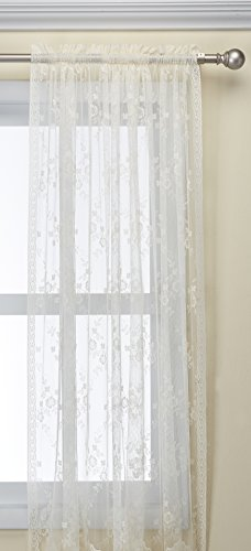 Common Wealth Home Fashions Mona Lisa Lace Window Panels, 56 by 63-Inch, Eggshell